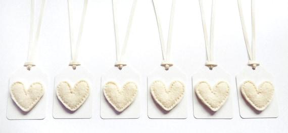 Cream Felt Heart Christmas Gift Tags / Name Tags with Cream Satin Ribbon Ties (Set of 6)