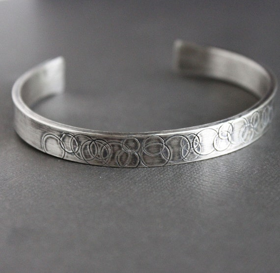 Mens Silver Cuff Bracelet Sterling with Circle Pattern