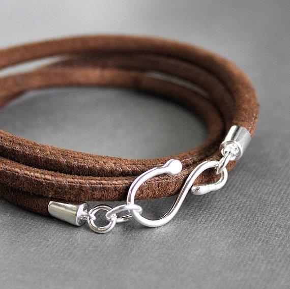 CUSTOM ORDER for Marti- Suede Leather Wrap Bracelet Sterling Silver Hook Brown