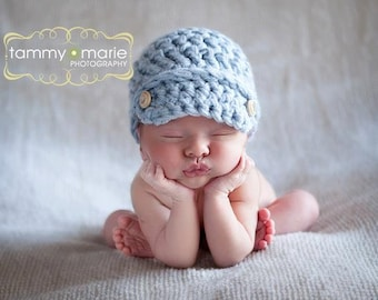 Classic Newsboy Cap New Crochet PATTERN ONLY True Newborn Size Baby Boy Girl Unisex Hat Photo Photography Prop