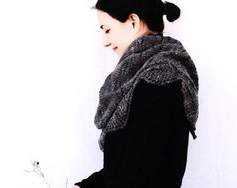 Grey Tweed Leaves Stole - Shawl - Summer Sale