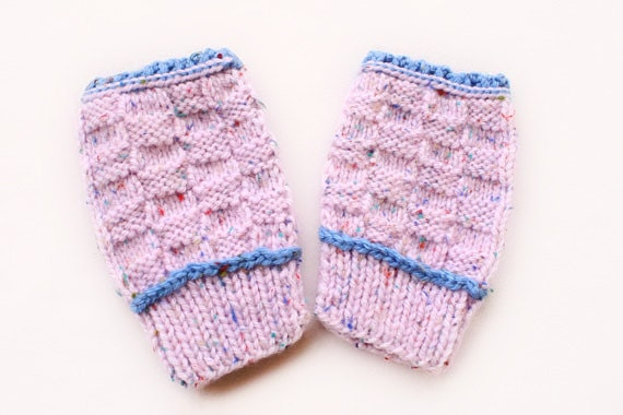Ice-Pink and Blue Fingerless Mitten with Red Blue Yellow Dots