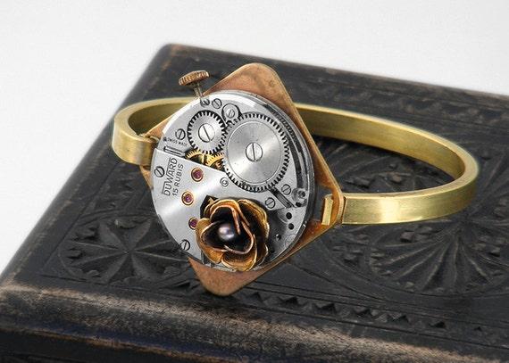 Steampunk Bangle, Black Pearl Brass Rose and Vintage Watch Movement - Steampunk Bracelet