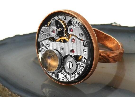 Steampunk Statement Ring - Copper, Smoky Topaz Gemstone & Vintage Watch Mechanism - Size 5
