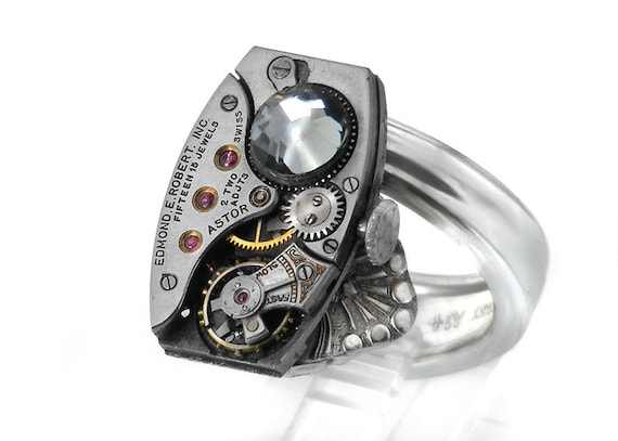 RESERVED for RLP / Man's Steampunk Ring, Black Diamond Crystal & Vintage Watch Movement, Spoon Ring Band - ring size 11