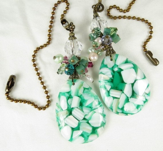 Chain Pull Pair for Ceiling Fan or Lamp with Sea Green Resin and Mother of Pearl Teardrop and Multi Colored Drops