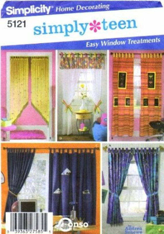 Simplicity 5121 Sewing Pattern Teens Window Treatments
