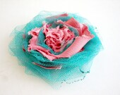 Shaby Chic Frayed Pink Turquoise Tulle Floral  Brooch  gift her Under 25
