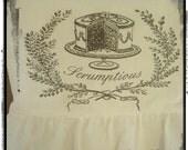 Handmade Flour Sack, Tea Towel, Farhouse, Cottage Chic, Hostess Gift, Ruffle