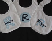3 Personalized Bibs Gift Set Baby Boy Initial Name