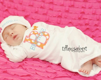 Personalized Baby Girl Gift Set Gown with hat