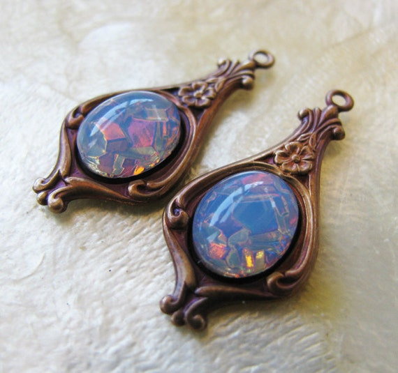 Limited Vintage Cabochon Blue Fire Opal Glass Charm Earring Drops - Vintage Jewels - Hand Antiqued Brass Settings - 25mm