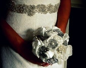 Brooch Fabric Bouquet with silver diamante & pearl brooches and Satin Ivory handmade flowers -  Small - Swatches available before purchase