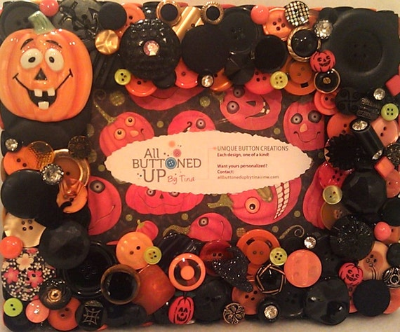 """RESERVED For Melanie - Halloween Button Picture Frame in Orange, Black and Lime for 4""""x6"""" Photo"""