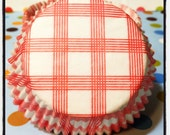 60 Unique Red Square Checkered Cupcake Liners or Muffin Liners