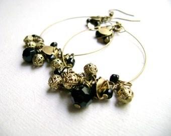 Bohemian style  indie chic gypsi stile black golden earrings - Glint - Black and golden dangle long earring
