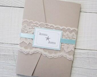 Rustic Beach Wedding Invitation - Starfish Ocean Tropical Destination Lace Pocket - Deposit