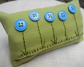 Tissue Pack Cover -Travel Tissue Case - Kleenex Cover - Embroidery and Blue Button Flowers - Tissues Included