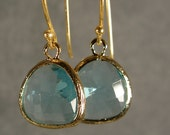 Blue Zircon Glass Gold Bridesmaids Earrings, Wedding Earrings, Gold Earrings, Bridesmaid Gifts (3212Wn)