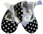 Black & White Polka Dot  Satin Baby Crib Shoes. Perfect Shower Gift Photo Prop or just everday