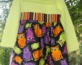 Fall HALLOWEEN OWL Upcycled Tshirt Twirl Dress, size 4 5 6T, Ready to Ship, Orange Black Green Purple
