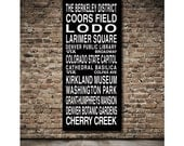 Denver Destination Roll / Subway Scroll / Tram Banner / Bus Schedule 28in x  64in - Ready to Hang