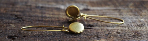 Tiny Vintage Brass Locket  Earrings
