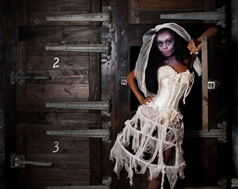 Custom Size ivory lace caged victorian zombie corset costume dress with tea stained ruffled panties s-xl