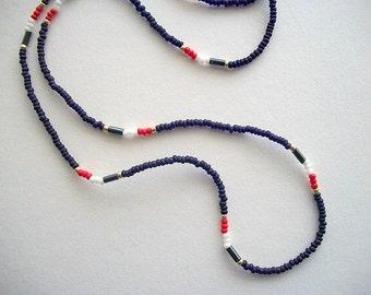 Eyeglass Lanyard Blue Beaded Patriotic Necklace