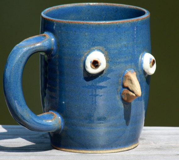 BLUEBIRDS, Blue Ceramic Coffee Mug, Coffee Cup