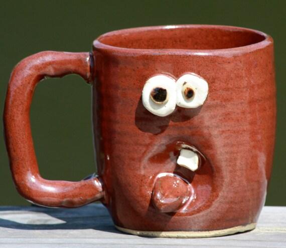 Hand Thrown Pottery Mug, Red