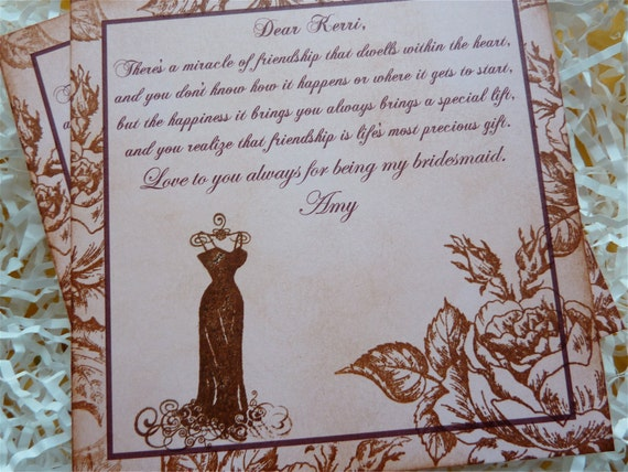 Shabby Chic Thank You Cards Bridesmaid/Maid of Honor Vintage Set of 2 RESERVED