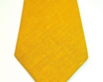 Mustard Necktie Mustard Linen Neckties Yellow Linen Neckties Mens Neckties Gold Neckties Mustard Neckties