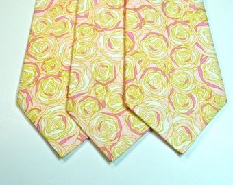 Sale - Pink and Green Rose Neckties - 17 each or 2 for 30 - 5 available, 3.0 Inches Wide