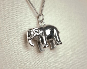 Vintage Chrome Plated Three Dimensional Elephant Charm