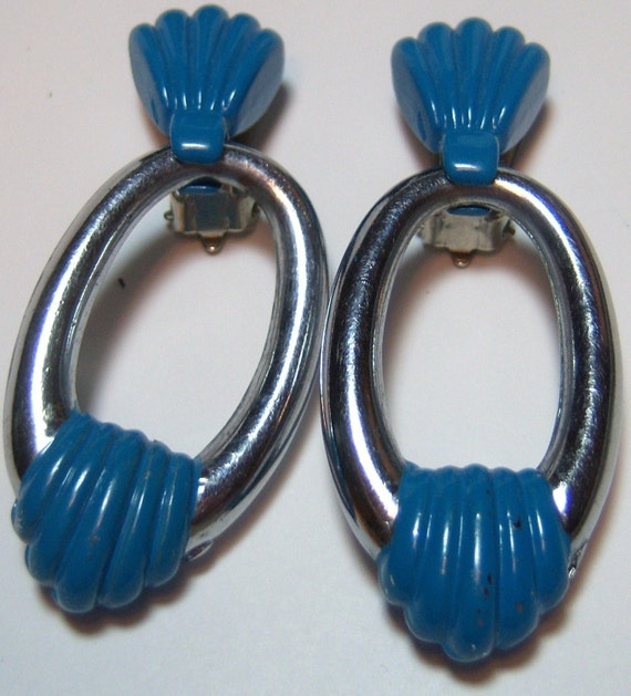 blue and silver dangle long vintage clip on earrings