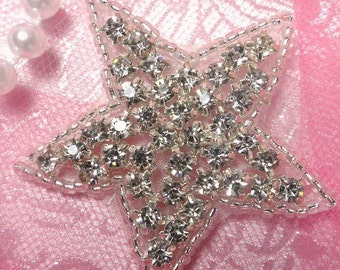 "JB97 Crystal Rhinestone Applique Silver Beaded Star 2"" (JB97-slcr)"