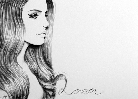 Lana del Rey Minimalism Original Pencil Drawing by IleanaHunter