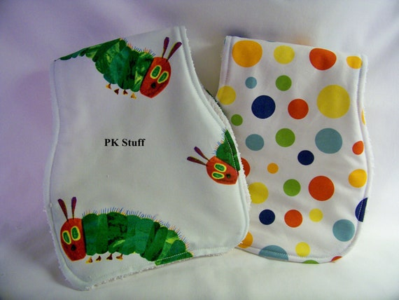 Contoured Burp Cloth in Very Hungry Caterpillar - Shoulder Cloth - Set of Two - Made To Order