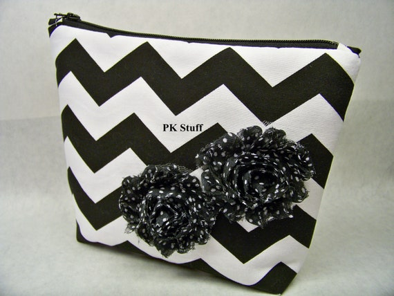 Cosmetic Tote Bag - Chevron in Black - Shabby Chic Flower Embellishments - Ready To Ship - Clutch Bag