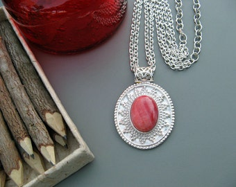 Sale * Silver and Rhodochrosite Pink Gemstone Necklace - Gemstone Necklace - 20 inch Silver Chain - Flower toggle clasp