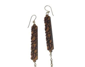 Floral Bamboo Chain Dangle Earrings KSE111007