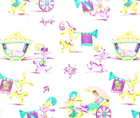 1950s GIFT WRAP / Wrapping Paper - Baby Shower With Rabbits And Babies - Vintage