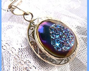 Peacock Titanium Crystal Druzy - Necklace  D 7942