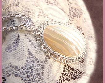 Beautifully Sterling Wrapped Deep Ocean Shell - Iridescent And Beautiful - Necklace  DC 8192