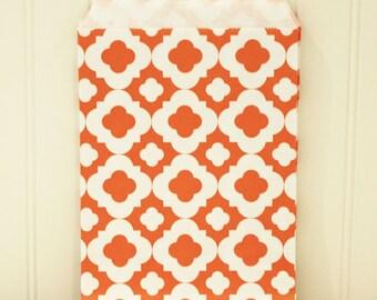 Paper Bags, 24 Orange Mod Print Party Favor Treat Bags, Halloween Favor Bag, Party, Wedding, Favors, Bakery, Packaging, Party Favor Bags