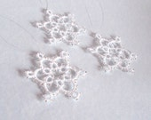 Set Of Three White Beaded Christmas / Winter Wedding Decorations in Tatting - Celyna - Small