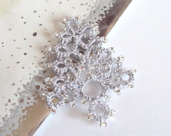 Silver Beaded Christmas Tree Decoration - Fenella - Large