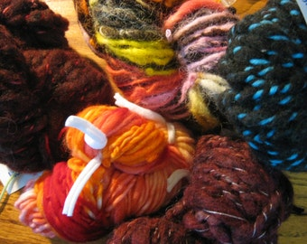SALE----131 Yards Handspun, Hand Dyed, Thick and Thin, Bulky to Super Bulky Mini Skeins