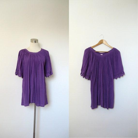 Hippie Blouse / 1970s Bright Purple Gauze Top / Crochet (medium large)